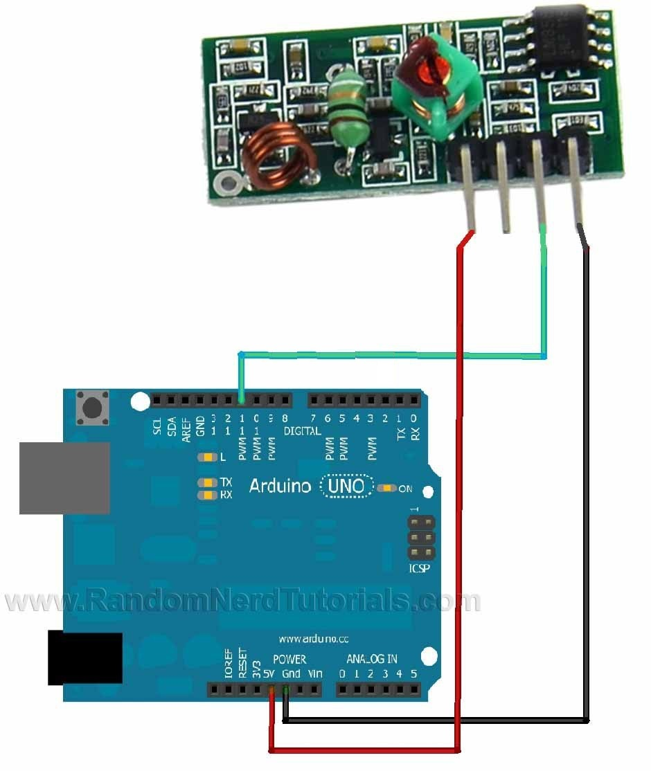 Arduino Rf Transmitter Circuit Wiring Diagrams Easily Tuned Notch Filter Diagram Tradeoficcom 433mhz Receiver Module With Random Nerd Rh Randomnerdtutorials Com Communication And