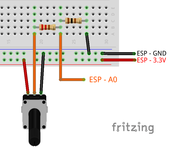 ESP8266 ADC read analog value circuit