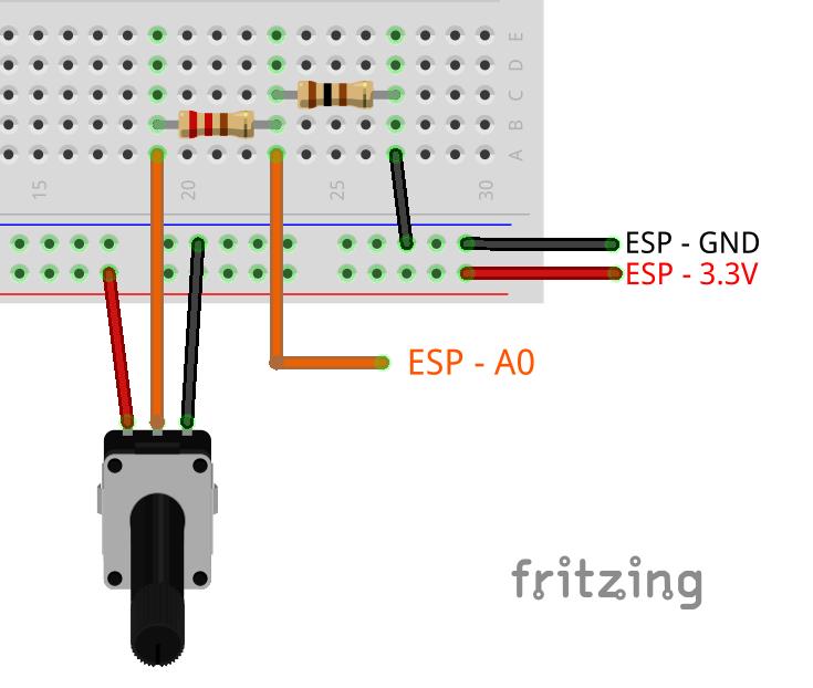 ESP8266 ADC read analog value circuit