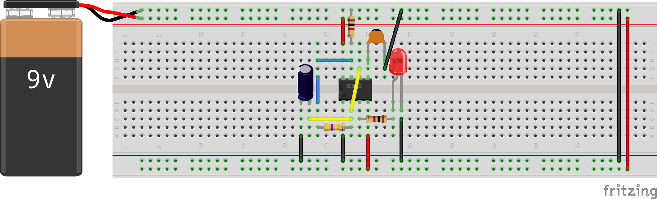 Introducing 555 Timer Ic Tutorial Random Nerd Tutorials Blinking Led Circuit With Schematics And Explanation In The End You Should See Your Like This