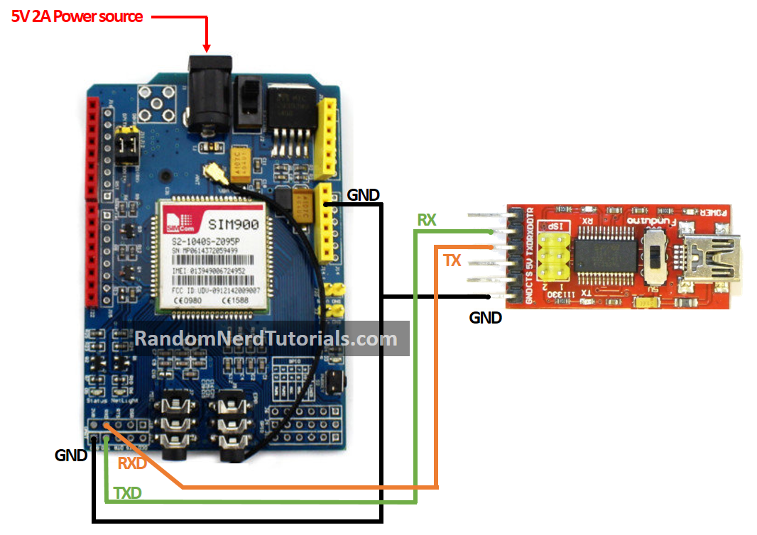 Sim900 Gsm Gprs Shield With Arduino Random Nerd Tutorials Power Over Ethernet Wiring Diagram Interface Schematic 1 Connect The Ftdi Programmer To As Shown In Figure Below