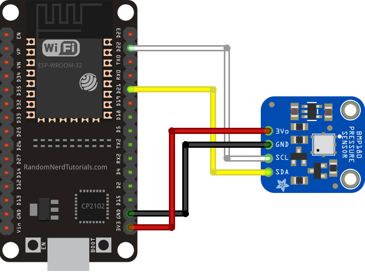 esp32 with bmp180 barometric sensor