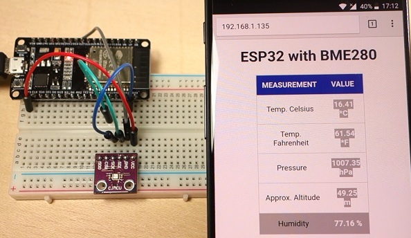 ESP32 Web Server with BME280 Weather Station