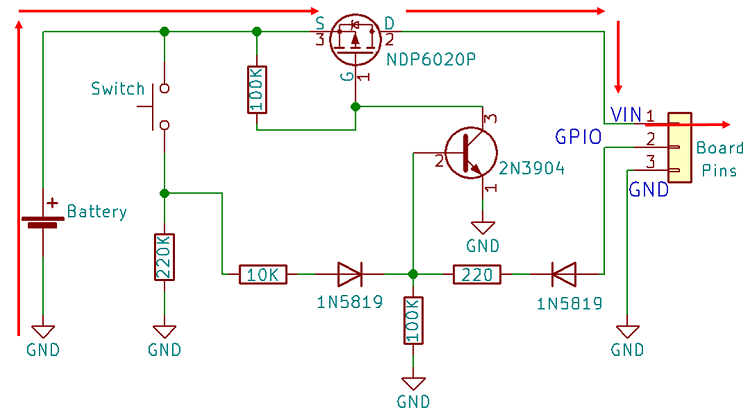 power latch circuit schematics esp32 esp8266 arduino
