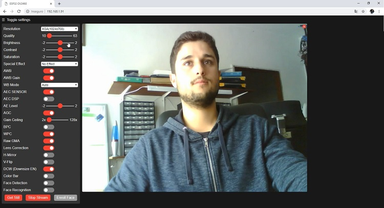OV2640 Camera Settings ESP32-CAM AI Thinker
