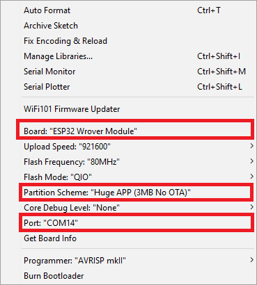 Board ESP32 Wrover Module and Partition Scheme Huge APP (3MB No OTA)