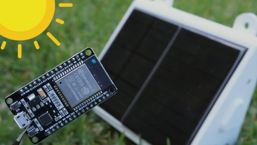Power ESP32 ESP8266 with Solar Panels includes battery level monitoring