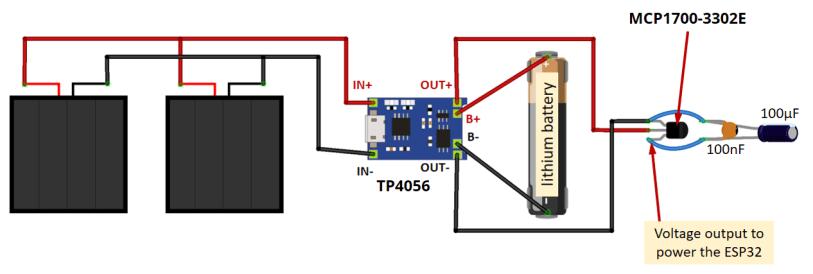 ESP32 ESP8266 Solar Panels and voltage regulator circuit