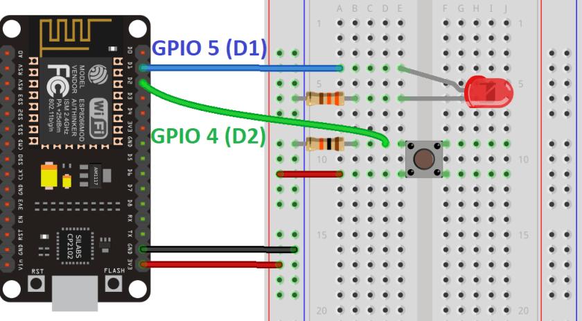 ESP8266 NodeMCU Digital Input and Digital Output Schematic Circuit LED Pushbutton