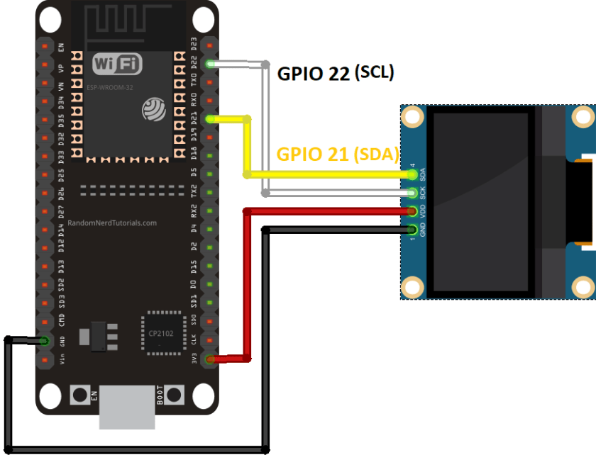OLED display SSD1306 with ESP32 MicroPython schematic diagram circuit I2C SCL SDA