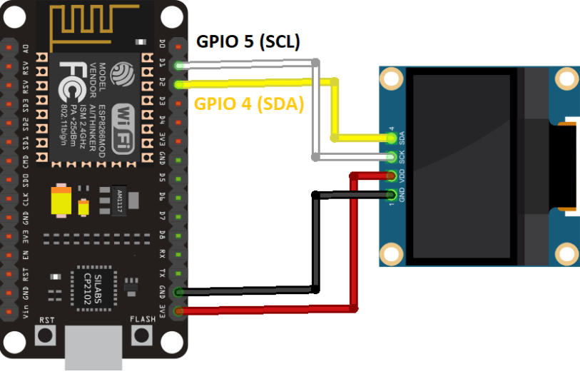 ESP8266 Arduino OLED Display Circuit Schematic