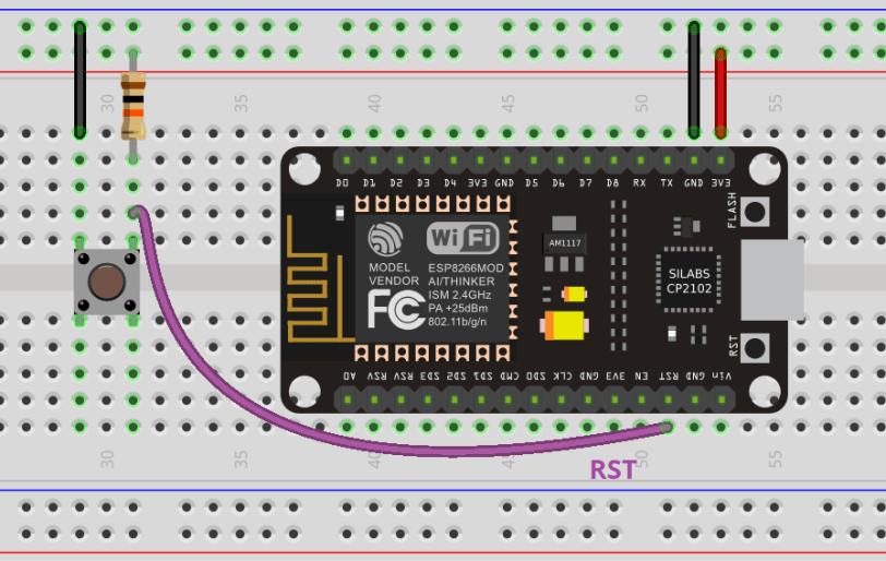 MicroPython ESP8266 NodeMCU External Wake Up deep sleep Circuit schematic
