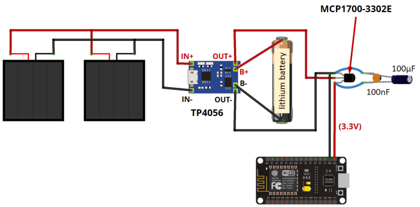 Power ESP8266 with Solar Panels circuit schematic