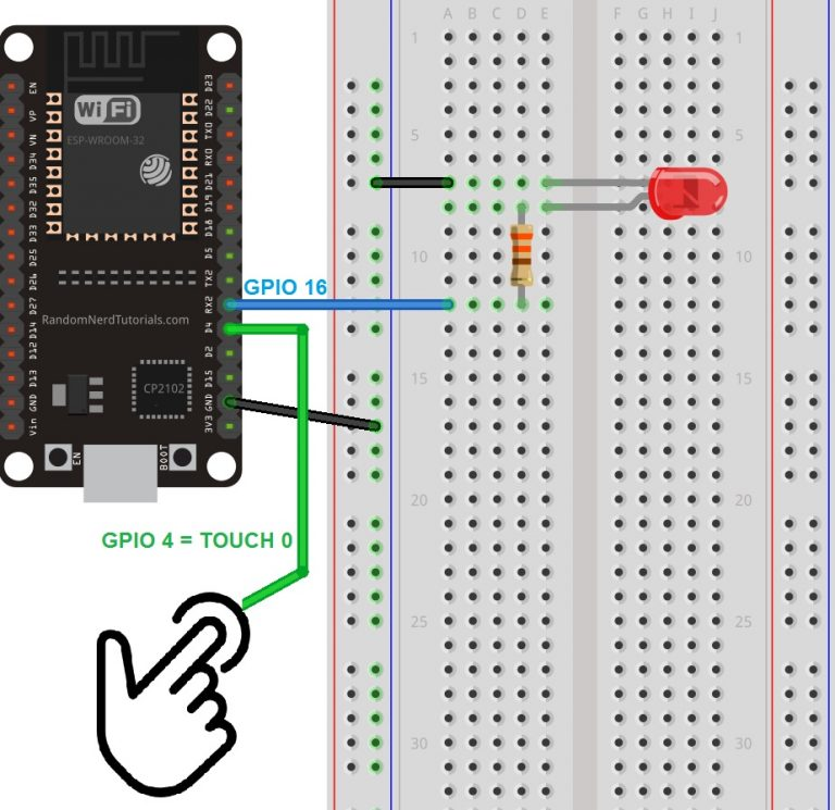Touch Sensitive LED with ESP32 Touch Pins Schematic Diagram