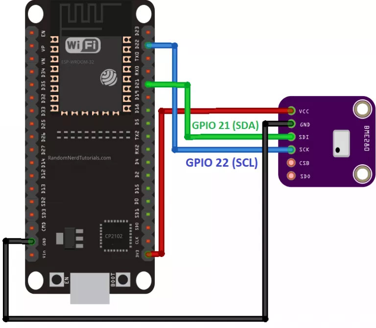 ESP32 with BME280 Wiring Schematic Diagram I2C