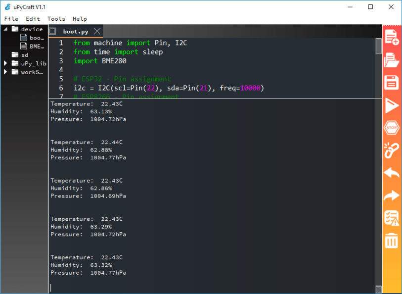 BME280 MicroPython ESP32 ESP8266 Printing Readings in Python Shell