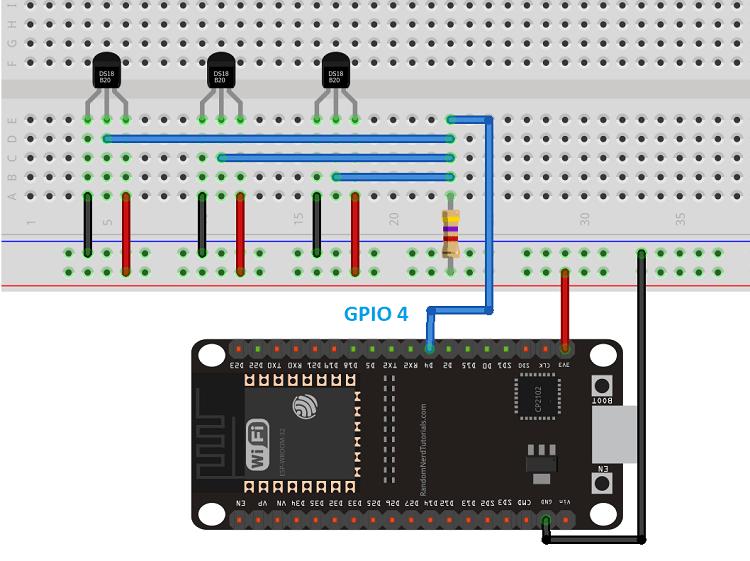 ESP32 DS18B20 Temperature Sensor with Arduino IDE (Single