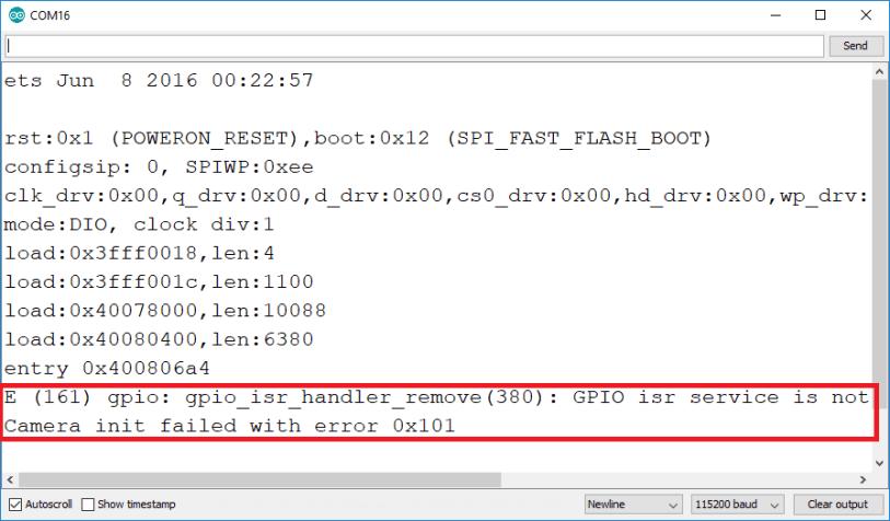 ESP32-CAM Psram error GPIO isr service is not installed
