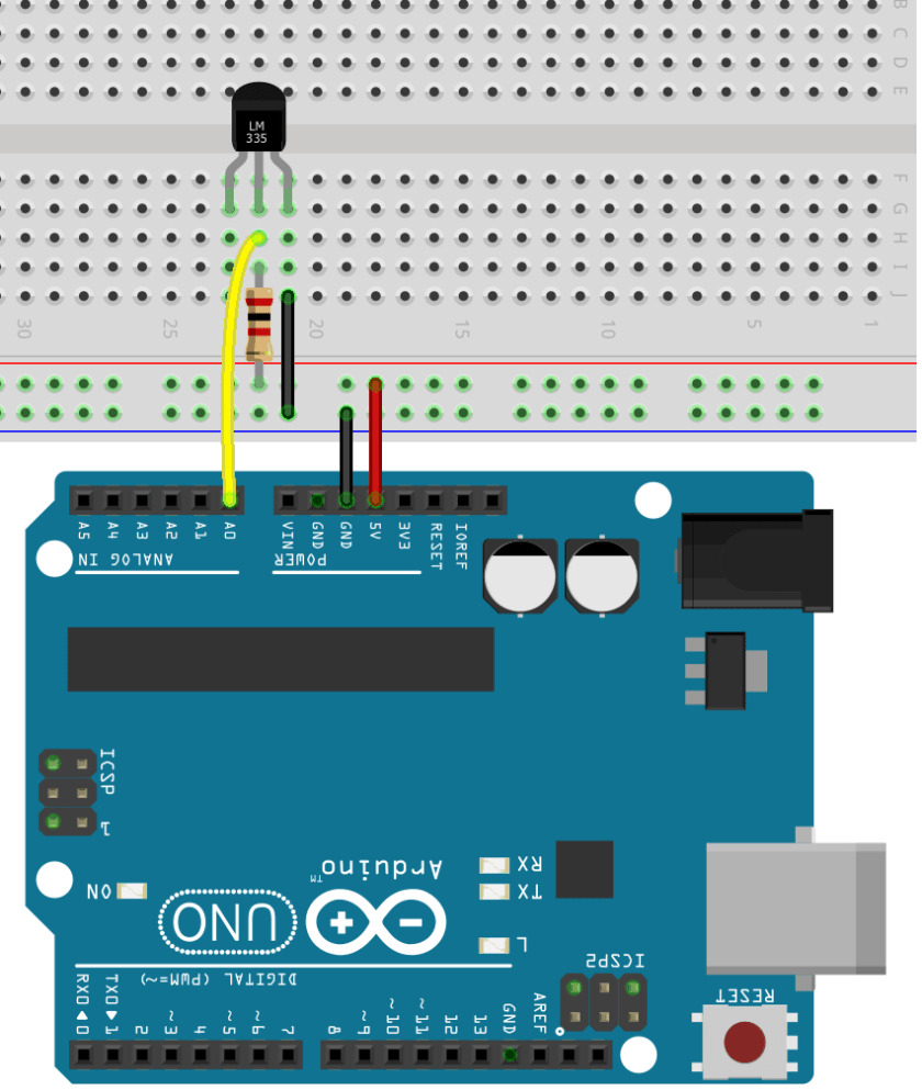 LM335 and LM34 Wiring to Arduino Schematic Diagram