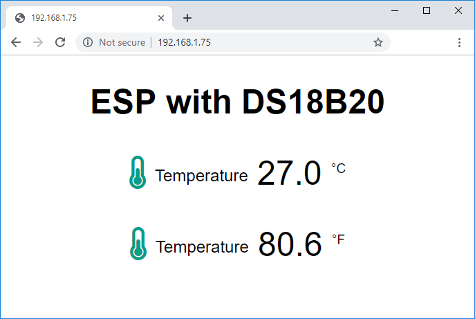 DS18B20 Temperature Readings on ESP32 ESP8266 Web Server