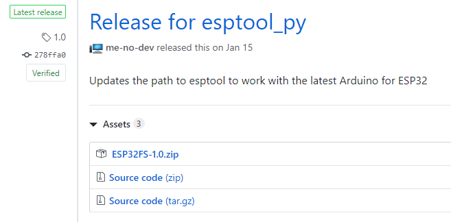 Download ESP32 SPIFFS Filesystem fs for Arduino IDE