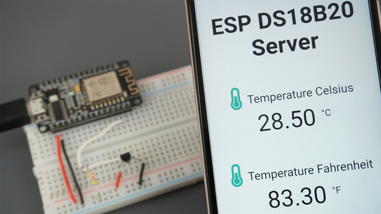 ESP8266 DS18B20 Sensor Web Server Arduino IDE (Single