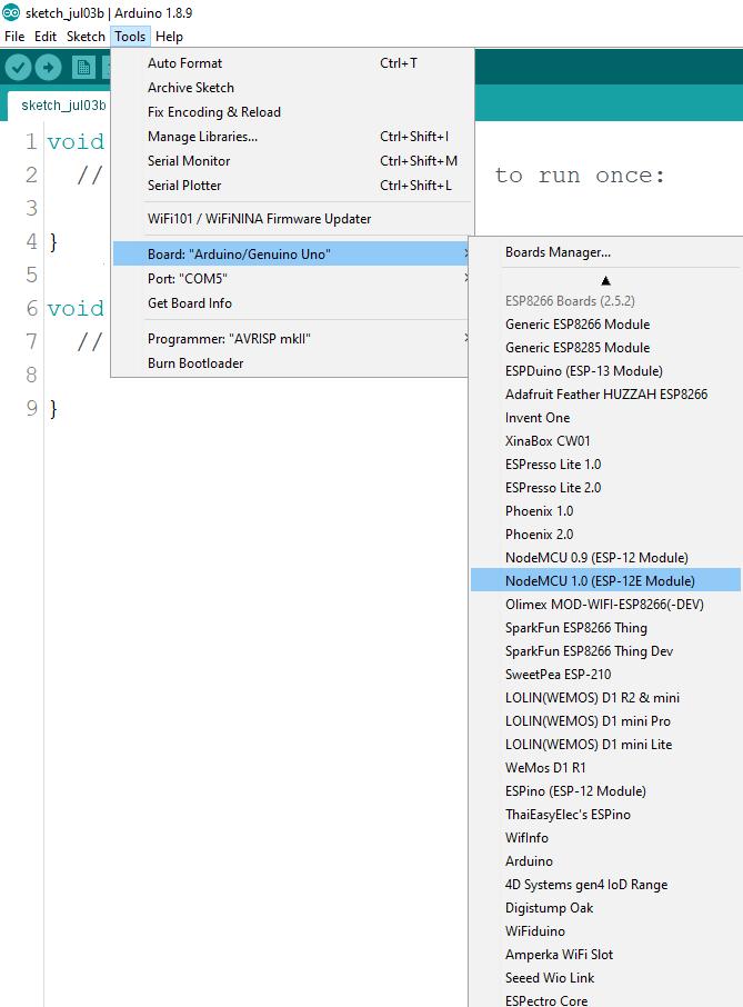 Install ESP8266 Board add-on in Arduino IDE select board