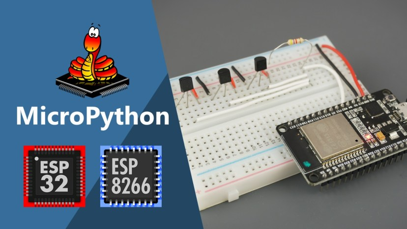 MicroPython DS18B20 Temperature Sensor with ESP32 and ESP8266 (Single sensor, Multiple sensors and Web Server example)