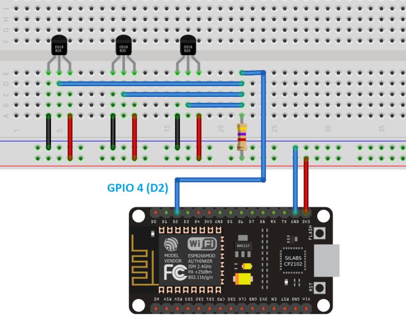 DS18B20 Multiple Temperature Sensors with ESP32 Wiring Schematic Diagram