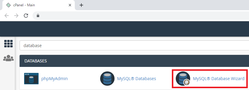 CPanel select MySQL database wizard to create db