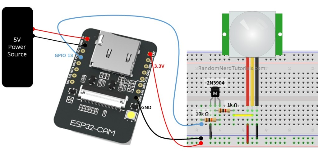 ESP32-CAM with PIR Motion Sensor Schematic Diagram Fritzing