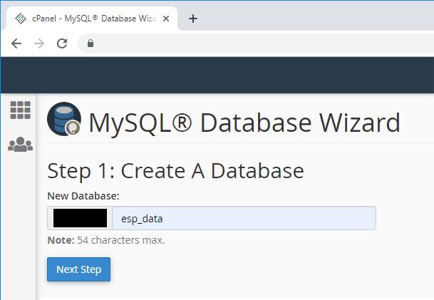 ESP32 ESP8266 CPanel Create MySQL Database