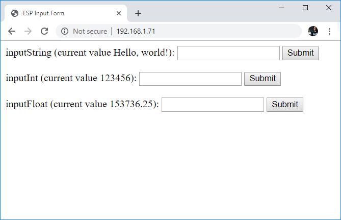 ESP32 ESP8266 HTML Form 3 Input Fields and Save data to ESP SPIFFS files using Arduino IDE