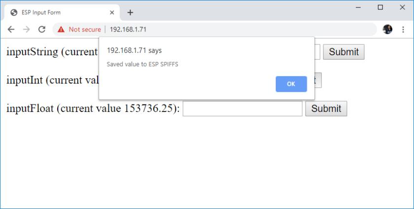 ESP32 ESP8266 HTML Form Input Data demonstration alert message web page reload