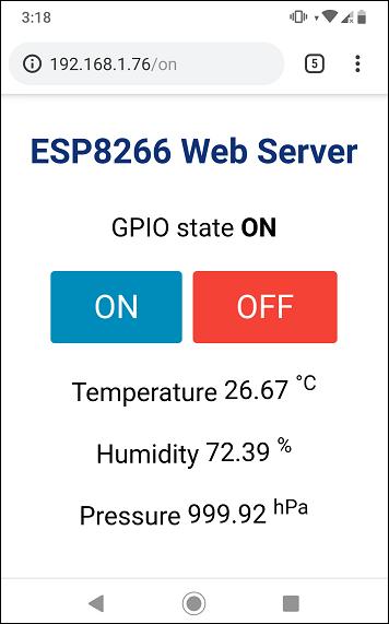 ESP8266 Web Server using SPIFFS page HTML CSS Demonstration smartphone