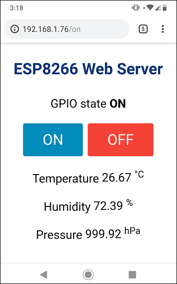 ESP8266 Web Server using SPIFFS page HTML CSS Demonstration smartphone