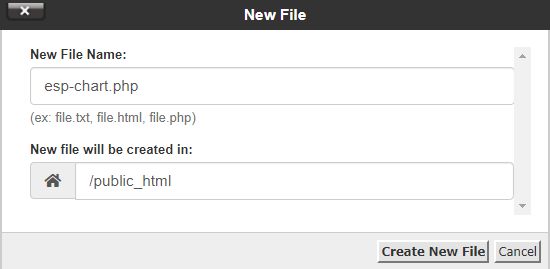 PHP Create New file esp chart data .php