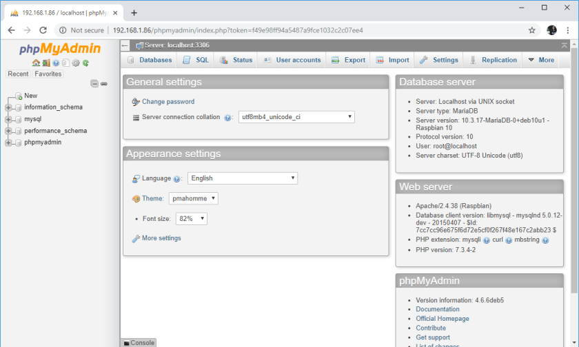 Raspberry Pi Open phpMyAdmin Logged in Page