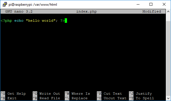 Raspberry Pi Create PHP Test File Hello World