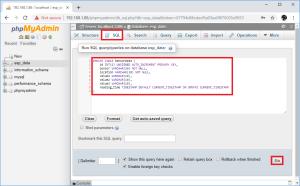 Raspberry Pi phpMyAdmin run SQL