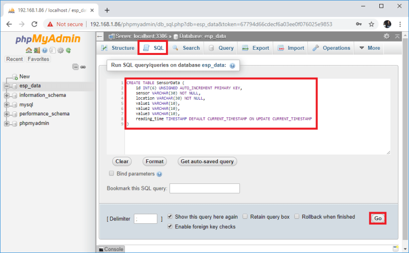 Raspberry Pi phpMyAdmin run SQL query