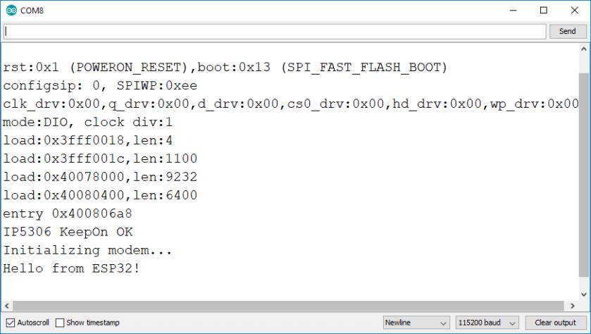 Initializing the T-Call ESP32 SIM800L Board Serial Monitor Arduino IDE