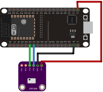 ESP32 with BME280 on Different I2C Pins Schematic Diagram Wiring
