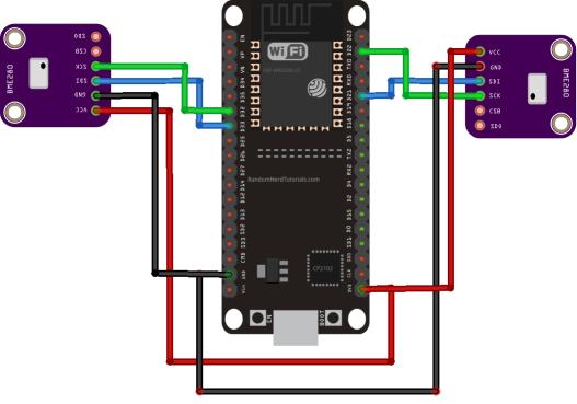 ESP32 with Multiple I2C BME280 Schematic Diagram