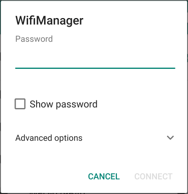 Enter network password wifimanager