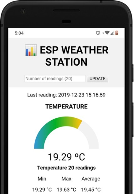 ESP32 ESP8266 Weather Station Data mobile responsive web page smartphone