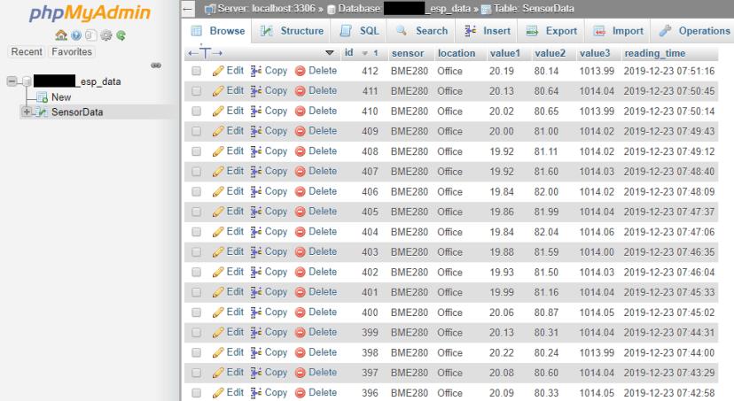 ESP32 ESP8266 Weather Station SensorData Table MySQL PHPMyAdmin