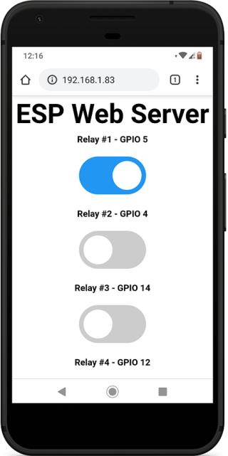 ESP32 ESP8266 NodeMCU Relay Web Server Mobile web browser