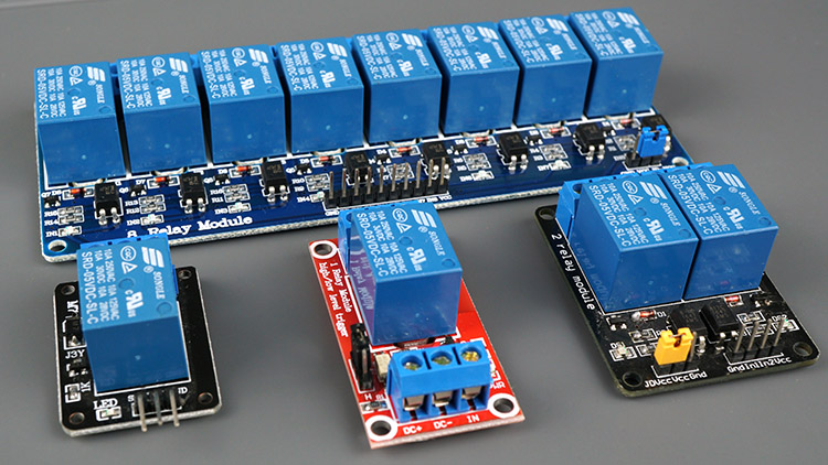 Relay modules with different number of channels 1, 2, 4, 8, 16 Channels