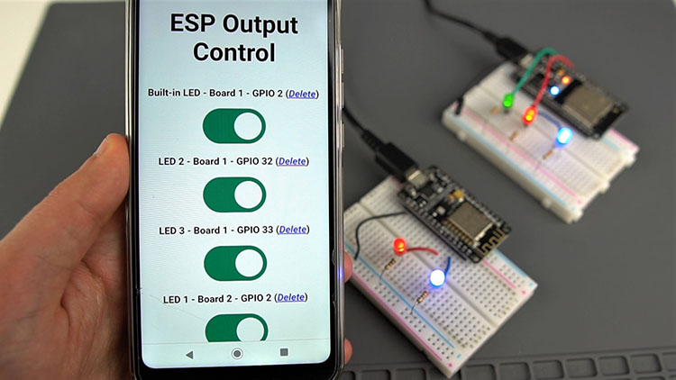 Control ESP32 ESP8266 GPIOs from Anywhere in the World dashboard demonstration